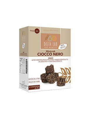 DIETALAB Minicrok Ciocco Nero 4 Confezioni da 24 g. - Snack Proteico